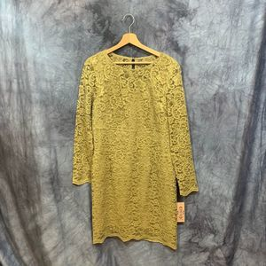 NWT Nanette Lepore Gold Lace Poetic Love Dress 12